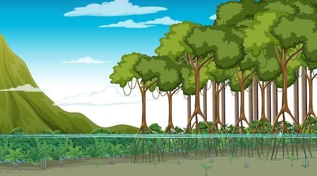 Naturszene mit mangrovenwald tagsüber im cartoon-stil