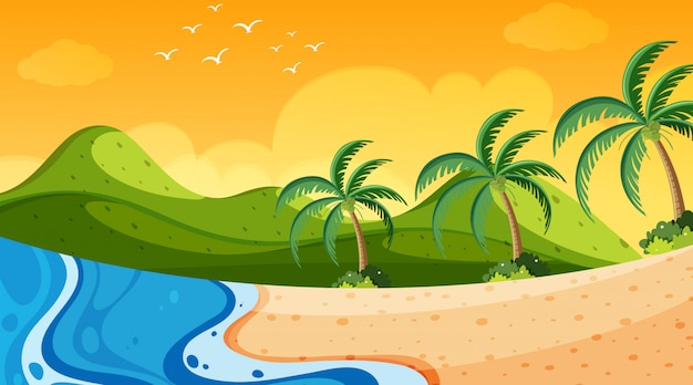 Naturszene mit ozean bei sonnenuntergang
