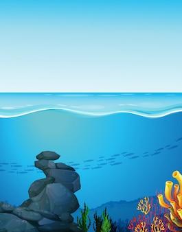 Naturszene mit ozean und unterwasser