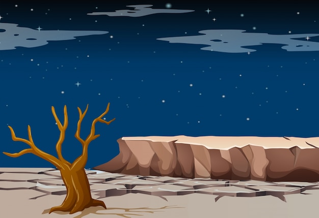 Naturszene mit trockenem land in der nacht