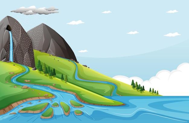 Naturszene mit wasser fällt von steinklippe