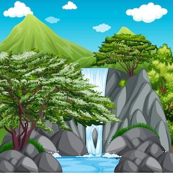 Naturszene mit wasserfall in den bergen