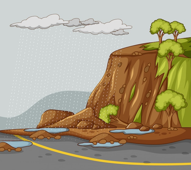Naturszenenhintergrund mit schlammrutschen und regen
