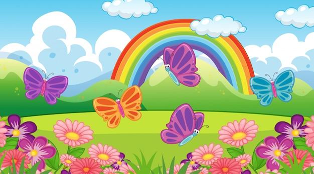 Naturszenenhintergrund mit schmetterlingen und regenbogen im garten
