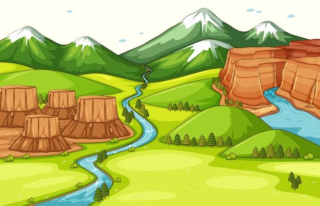 Naturszenenhintergrund mit verschiedenen teilen der landformen