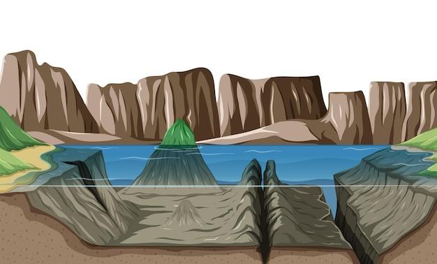 Naturszenenlandschaft mit unterwasser des sees