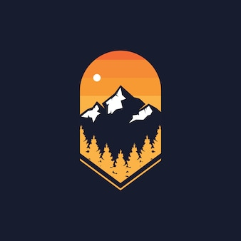 Naturwald & bergabzeichen-logo-designillustration