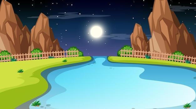 Naturwaldlandschaft bei nachtszene mit langem fluss, der durch die wiese fließt