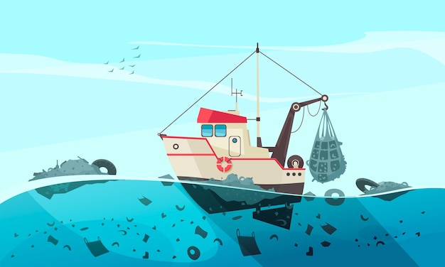 Naturwasserverschmutzungszusammensetzung mit offener seelandschaft und flachem bild des reinigungsschiffs, das abfallillustration sammelt