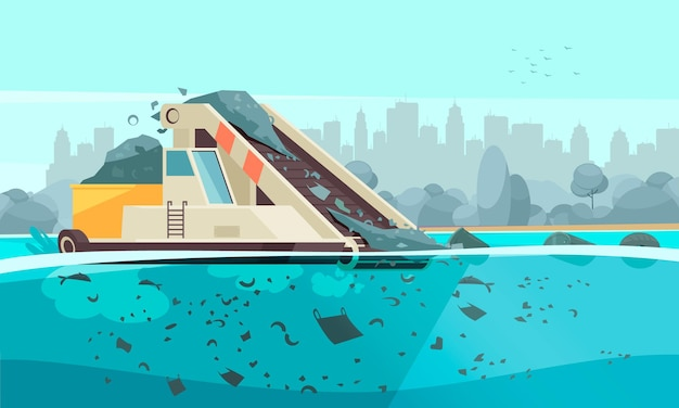 Naturwasserverschmutzungszusammensetzung mit schattenbild-stadtbildillustration und fördermaschine, die abfallpartikel in wasser verschüttet Premium Vektoren