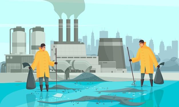 Naturwasserverschmutzungszusammensetzung mit stadtbild und fabrikgebäudeillustration der menschlichen charaktere mit schmutziger wasseroberfläche