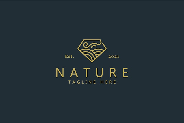 Naturwind und bauernhof auf diamantform-logo-konzept.