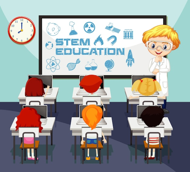 Naturwissenschaftslehrer und schüler im klassenzimmer