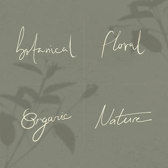 Naturwörter im minimalen handgeschriebenen typografiestil