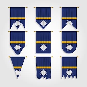 Nauru flagge in verschiedenen formen, flagge von nauru in verschiedenen formen
