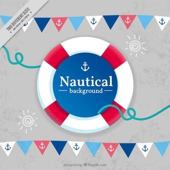 Nautical hintergrund mit girlanden und rettungs