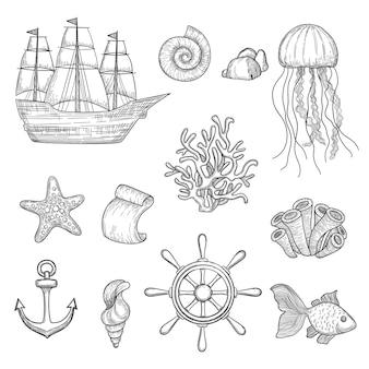 Nautische elemente. ozeanfisch muscheln boote schiffe knoten reisen marine symbole hand gezeichnete sammlung