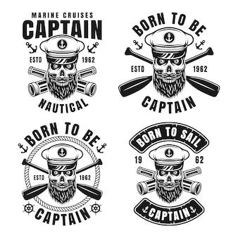 Nautische embleme mit bärtigem schädel des kapitäns in der skipperhut-vektorillustration