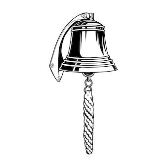 Nautische glockenvektorillustration. vintage monochrome messingglocke mit seil. segel- oder seefahrtsnavigationskonzept für etiketten- oder emblemvorlagen