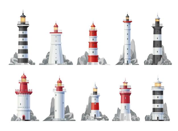 Nautische leuchtturmgebäude isolierten ikonen