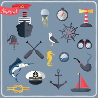 Nautische meer reise dekorative symbole gesetzt mit kompass lenkrad leuchtturm vektor-illustration