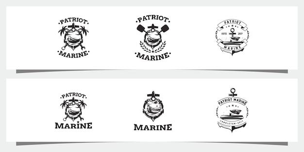 Nautische monochrome set logos kostenlosen vektoren