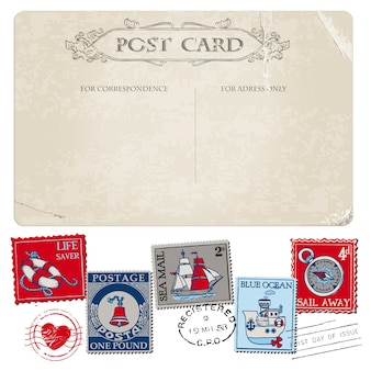 Nautische postkarte und briefmarken für die hochzeit