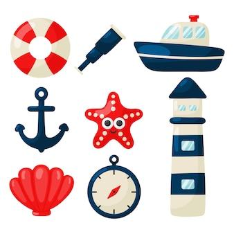 Nautische set icons cartoon-stil. isoliert