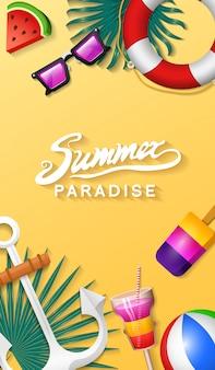 Nautische sommerkarten. seeurlaub am strand. tropische pflanzen. plakat oder hintergrund. retro-reise. weinleseurlaub auf see.