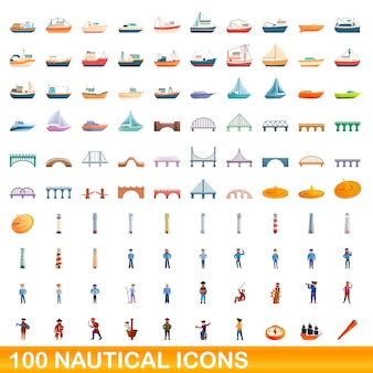 Nautische symbole eingestellt. karikaturillustration von nautischen ikonen gesetzt auf weißem hintergrund