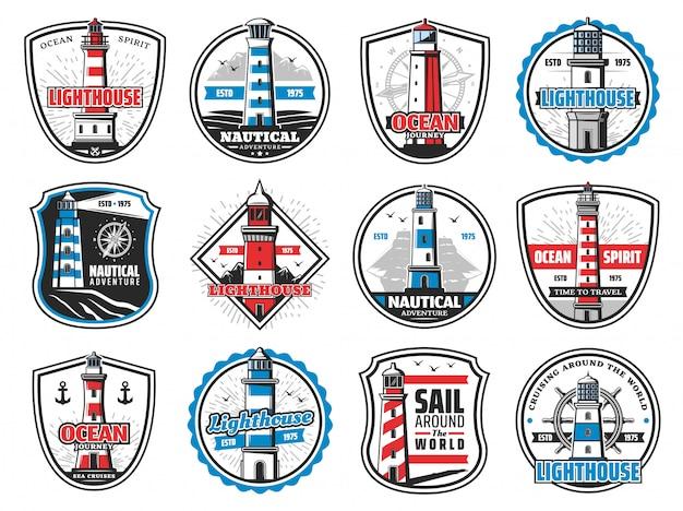 Nautischer leuchtturm, marineanker und schiffshelm