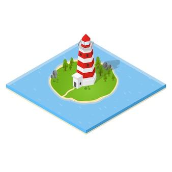 Nautischer leuchtturm und haus auf der insel isometrische ansicht.