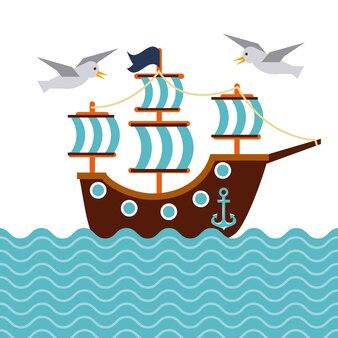 Nautischer seevogelankermarinett des segelboots