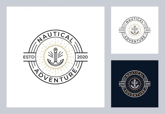 Nautisches logo-design im vintage-stil