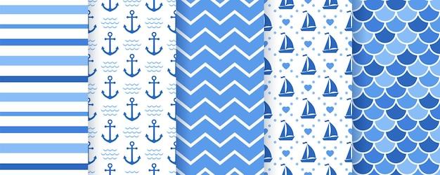 Nautisches, nahtloses marinemuster. meereshintergründe mit anker, streifen, yacht, zickzack, fischschuppe. blaue texturen