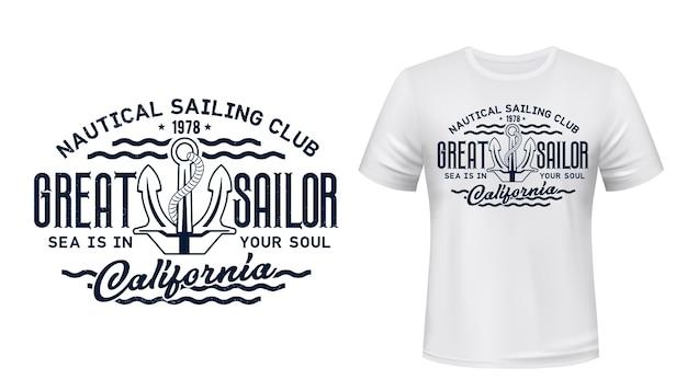 Nautisches segelclub-t-shirt.