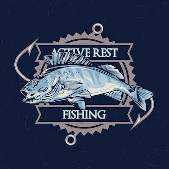 Nautisches thema t-shirt design mit illustration von fisch