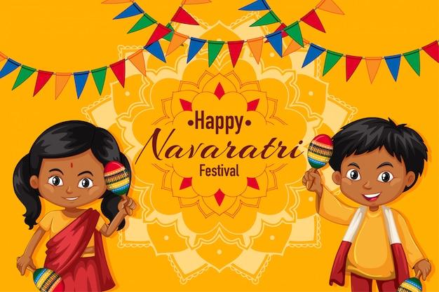 Navaratri-plakat mit jungen und mädchen