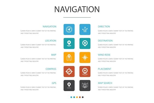 Navigation infografik cloud-design-vorlage. lage, karte, gps, richtung einfache symbole einfache symbole