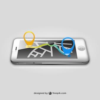 Navigation mit dem iphone-vektor