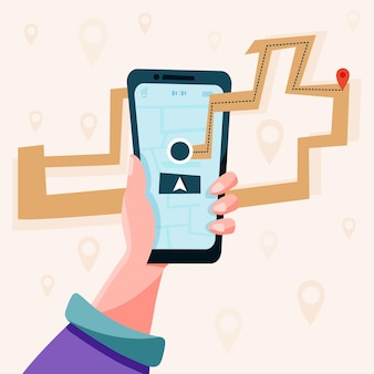 Navigation mit dem telefon in der hand