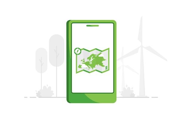 Navigation über handy-app in flachem design