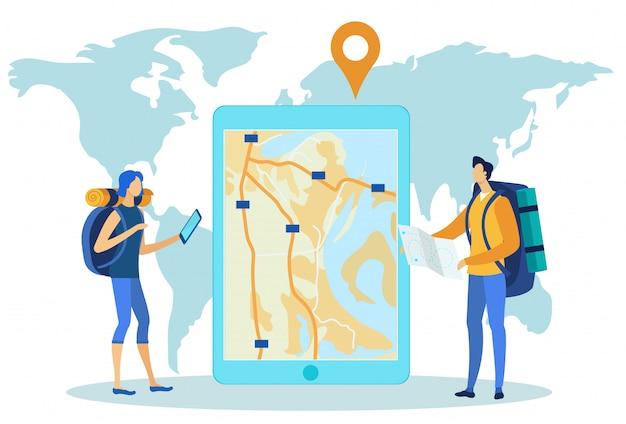 Navigations-app auf dem tablet-bildschirm gegen papierkarte.