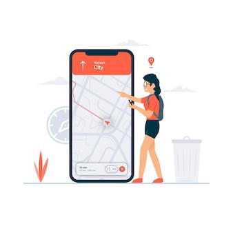 Navigations-gps-konzeptillustration