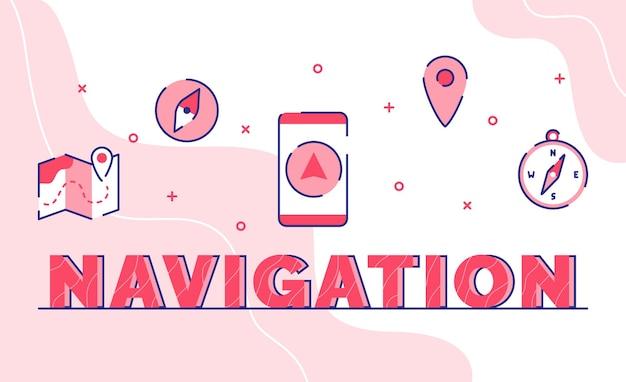 Navigations-typografie-wortkunsthintergrund