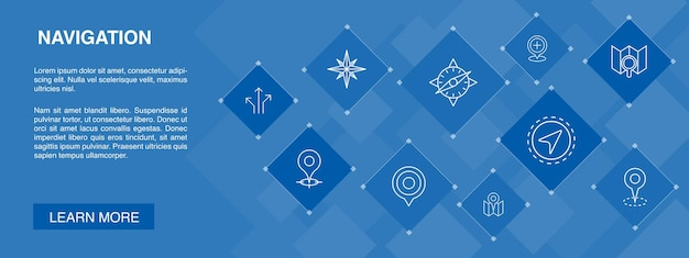 Navigationsbanner 10 symbole concept.location, karte, gps, richtung einfache symbole