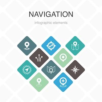 Navigationsinfografik 10 option farbdesign. lage, karte, gps, richtung einfache symbole