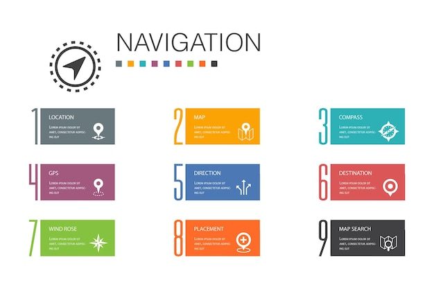 Navigationsinfografik 10 optionszeilenkonzept. lage, karte, gps, richtung einfache symbole