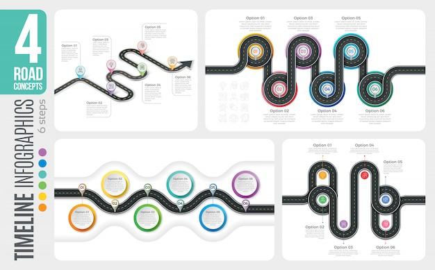 Navigationskarte 6 schritte timeline infografik