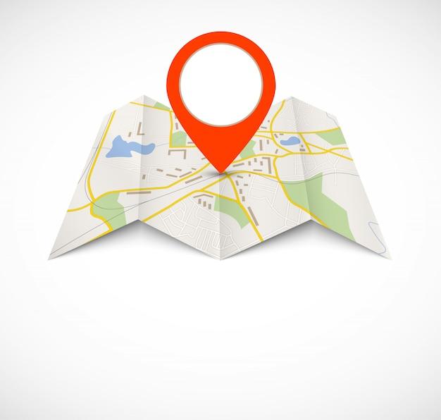 Navigationskarte mit rotem stift